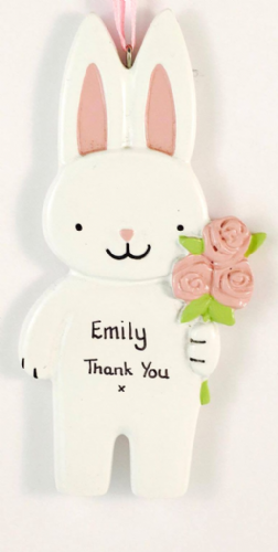 Personalised Bunny holding Pink Roses